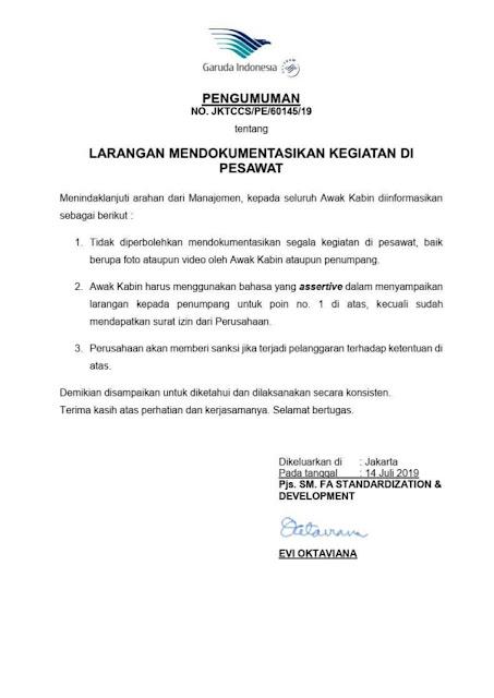 Sedih, Mulai Hari Ini Sumber : Kumparan Garuda Indonesia Berlakukan Larangan Ambil Photo Dalam Pesawat