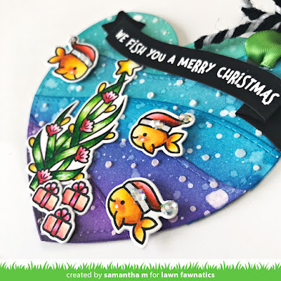 We Fish You a Merry Christmas Tag by Samantha Mann for Lawn Fawnatics, 25 Days of Christmas Tags, Lawn Fawn, Under the Sea, Distress Inks, Ink Blending, Die Cuts, Embossing Paste, #lawnfawn #25daysofchristmastags #tag #christmas #lawnfawnatics #underthesea #diecuts