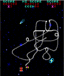 Gameplay still of Phoenix arcade, with the path of the small bird traced out.