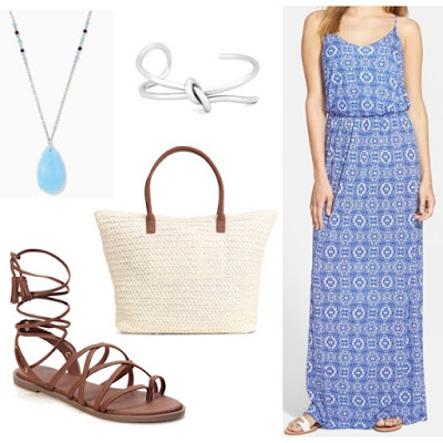 Junior Women's Lush Knit Maxi Dress, Size Medium - Blue • Lush • $38.90 H&M - Shopper - White - Ladies • H&M • $12.99 Elina Teardrop Necklace • Charming charlie • $6.99 Ghillie-Tie Gladiator Sandals for Women • Old Navy • $17 Polished Knot Cuff • Sole Society • $17.48