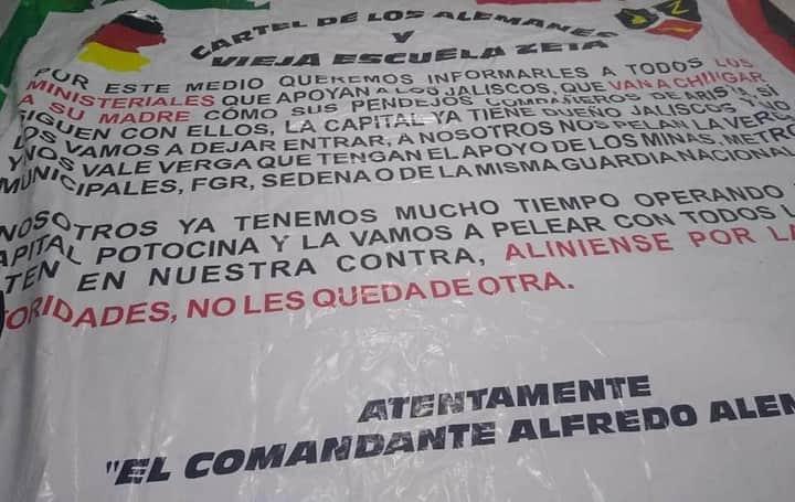 """Nace el """"Cártel de los Alemanes"""" en San Luis Potosí, tapisa de mantas junto a Zetas vieja escuela el Estado contra el CJNG"""