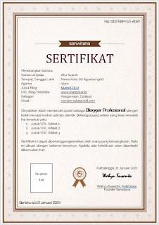 sertifikat blogger profesional