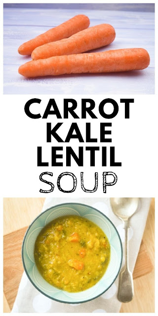 Spiced Carrot, Lentil and Kale Soup.A luxuriously thick and spicy carrot, lentil and kale soup. Keep the leftovers in the fridge or freeze them for another day. #lentilsoup #carrotsoup #kalesoup #easylentilsoup #lentilsouprecipe #carrotsouprecipe #vegetablesoup #soup
