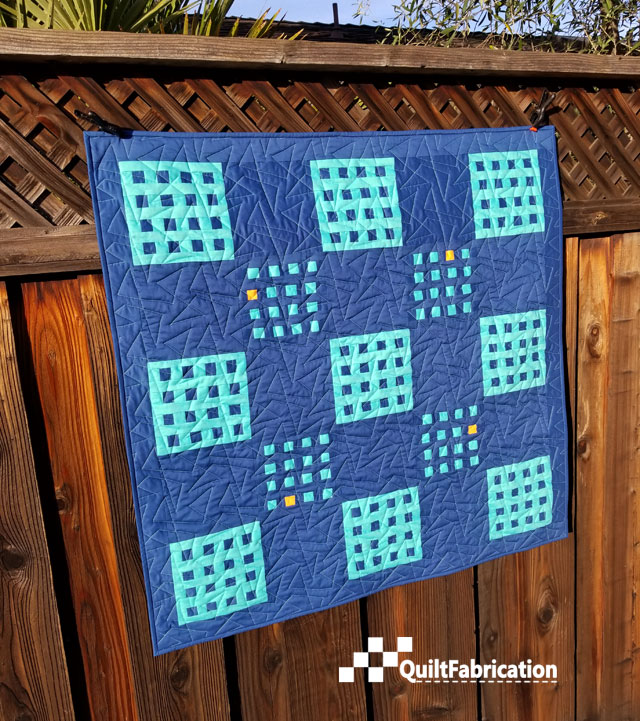 Hippo Blue quilt side view