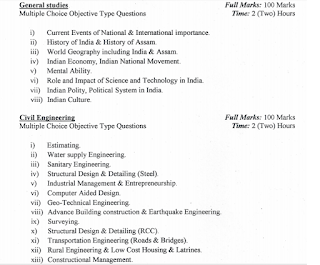 Exam Pattern and Syllabus for APSC JE Civil Posts-Junior Engineer Exam Syllabus