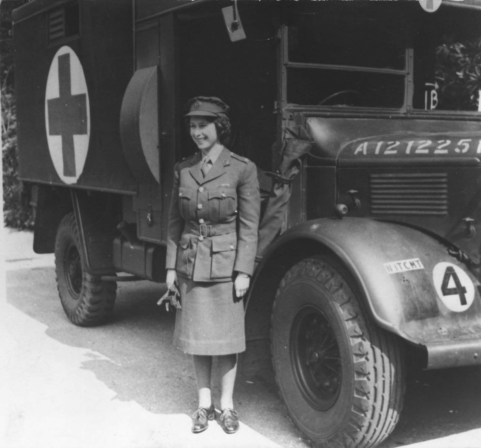 Queen Elizabeth II as a mechanic. 1945.