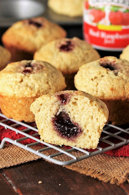 Buttermilk Jam Muffins Filled with Raspberry Jam Image