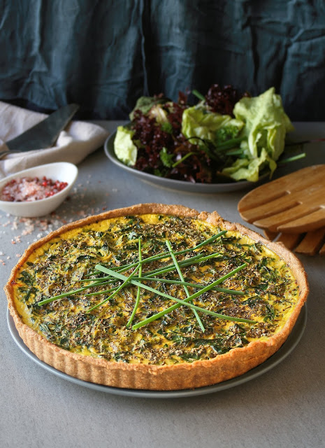 Organic spring vegetable and sun dried tomato pesto tart.