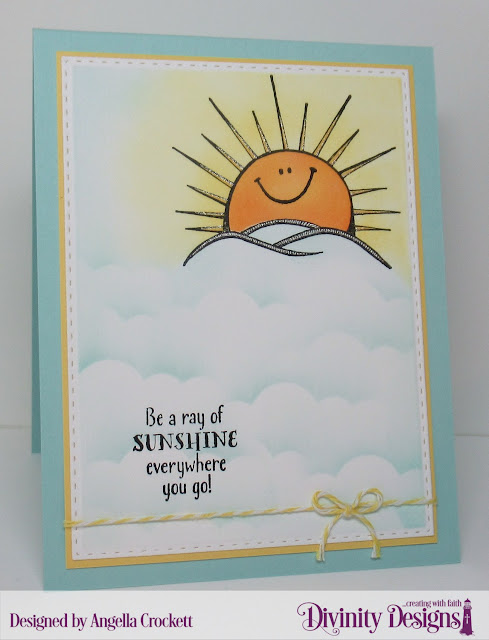 Divinity Designs LLC: Hello Sunshine, Double Stitched Rectangles Dies, Clouds and Raindrops Dies; Card Designer Angie Crockett