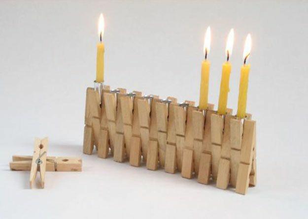 Decoração de Natal com pregador de madeira