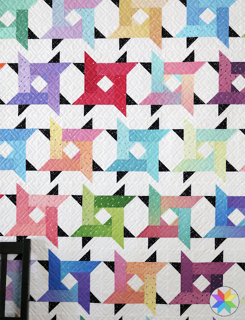 Windy City quilt pattern by Andy of A Bright Corner - these star blocks are so fun and the pattern comes in four sizes