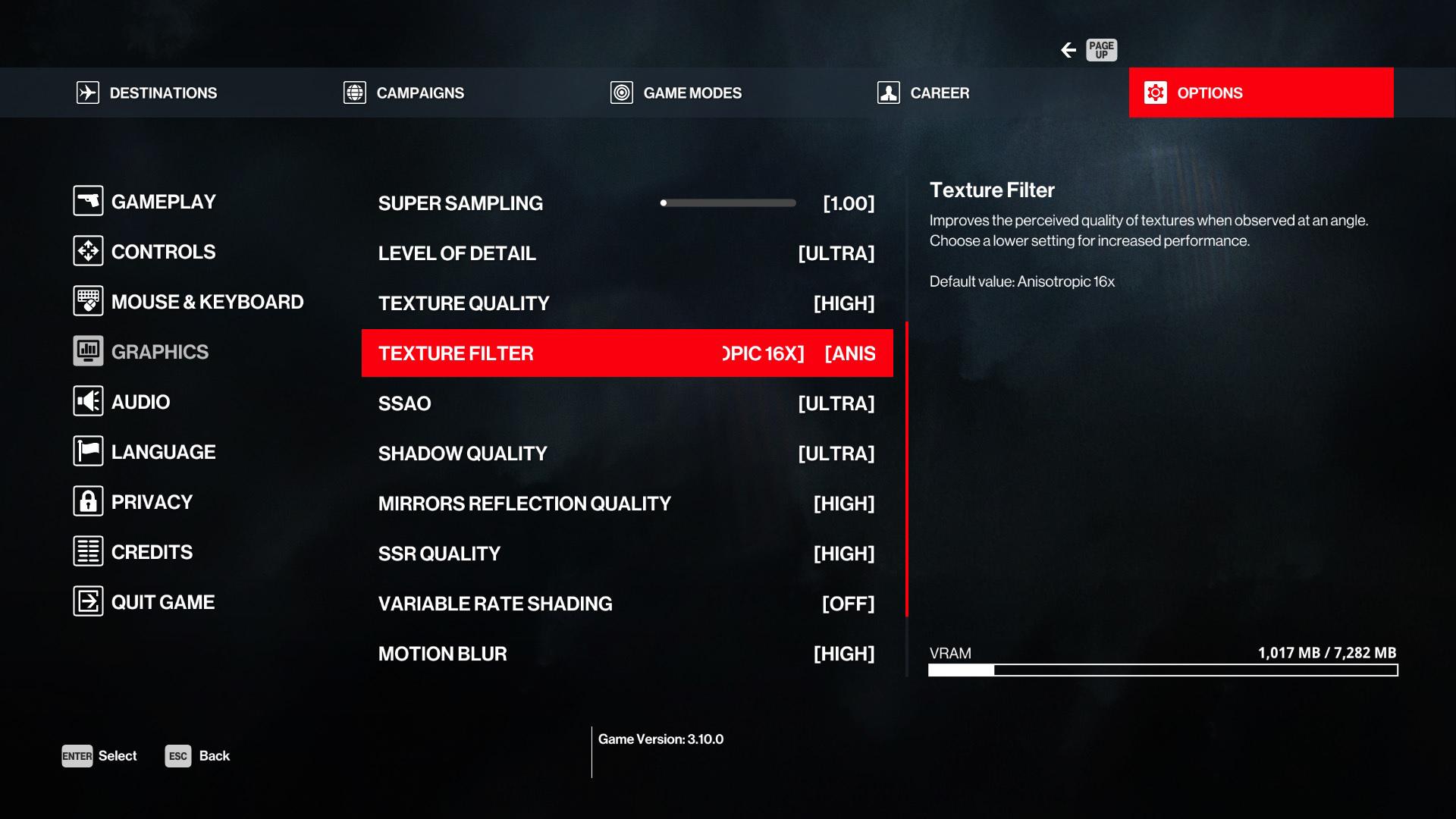 Final optimal settings