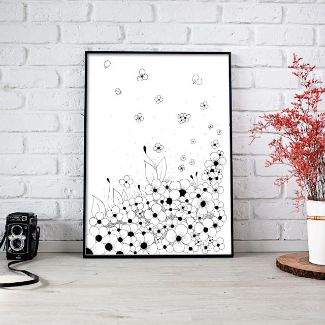 Flowers on the Floor Ink Art