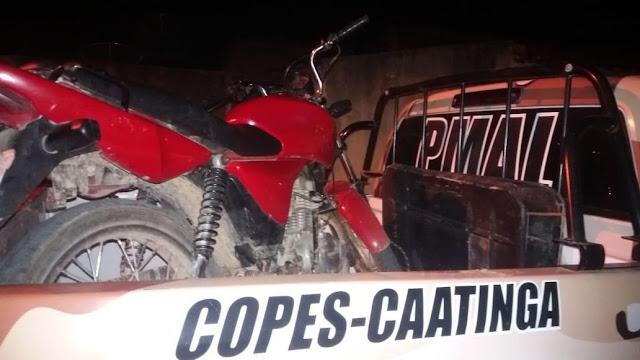 Em Canapi/AL, Copes recupera moto  e prende jovem por receptação