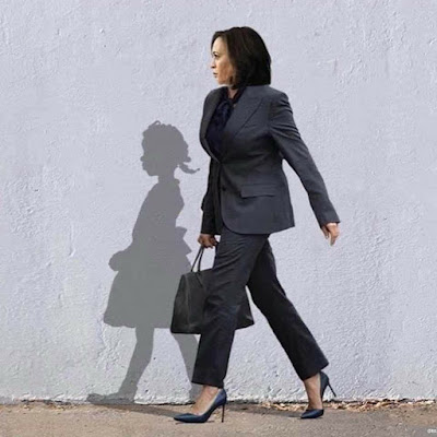 Artwork by Bria Goeller. It shows Vice-President-elect Kamala Harris and the silhouette of Ruby Bridges by Norman Rockwell  when she was walking to an all-white school, newly desegregated, escorted by four deputy US marshals in 1960