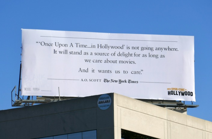 Once Upon a Time in Hollywood AO Scott NYT billboard