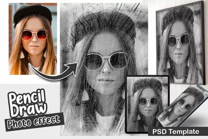 Pencil Draw PSD Photo Template