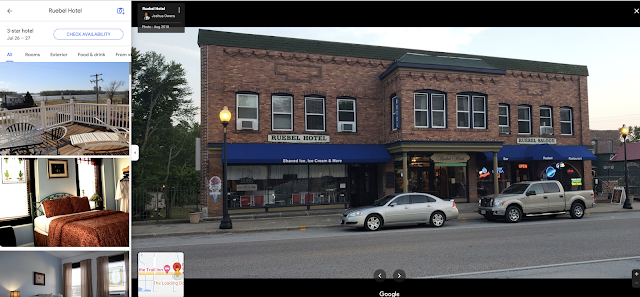 color photos from Google maps of Ruebel Hotel Grafton Illinois Mississippi River historic hotel