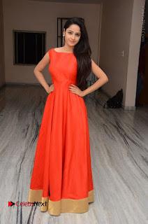 Telugu Actress Divya Nandini Stills in Orange Sleeveless Gown at Chennai Chaitrama Movie le Launch Event  0125.JPG