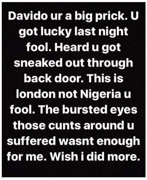 Davido Narrowly Escapes Being Beaten In London, His Crew Members Suffer Black Eyes (Photo)