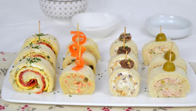 Rollitos de canapés con pan de molde para fiestas ¡4 ideas de aperitivo fáciles!