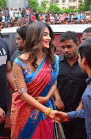 Puja Hegde looks stunning in Red saree at launch of Anutex shopping mall ~ Celebrities Galleries 149.JPG