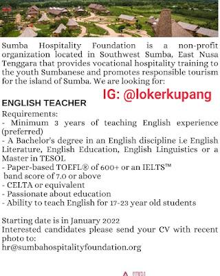 Lowongan Kerja Sumba Hospitality Foundation Sebagai English Teacher