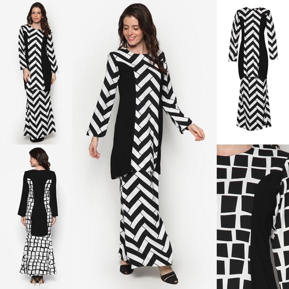 Fesyen Baju Kurung Moden Terkini Black White Monochrome Ixora By Butik Sireh Pinang
