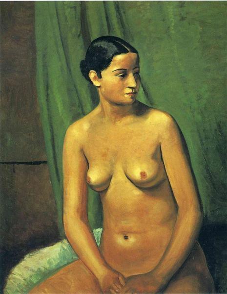 Андре Дерен André Derain Женская обнаженная перед зеленой подвеской
