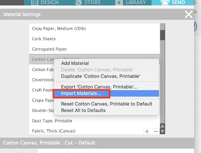 custom material settings, silhouette studio, import materials, material settings, cut settings