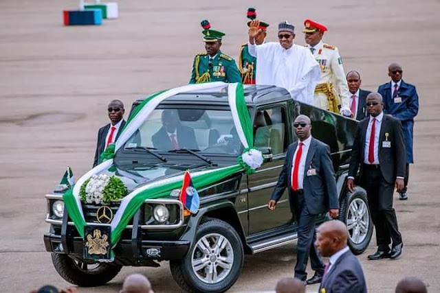 Photospeak of President Muhammadu Buhari at his swearing-in ceremony at the Eagle Square in Abuja on Wednesday (May 29).