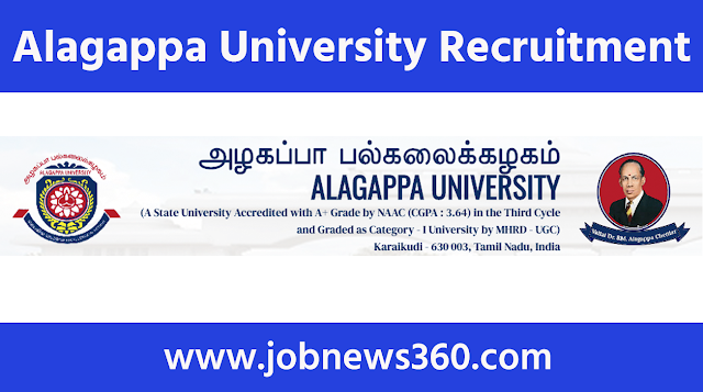Alagappa University Recruitment 2021 for Research Assistant