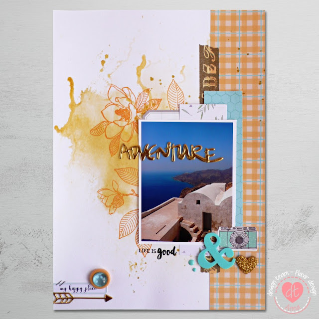 Scrapbooking - Una pagina con timbri per Flavir Design