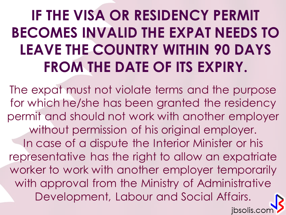 "Transfer to other employer   An employer can grant a written permission to his employees to work with another employer for a period of six months, renewable for a similar period.  Part time jobs are now allowed   Employees can take up part time job with another employer, with a written approval from his original employer, the Ministry of Interior said yesterday.   Staying out of Country, still can come back?  Expatriates staying out of the country for more than six months can re-enter the country with a ""return visa"", within a year, if they hold a Qatari residency permit (RP) and after paying the fine.    Newborn RP possible A newborn baby can get residency permit within 90 days from the date of birth or the date of entering the country, if the parents hold a valid Qatari RP.  No medical check up Anyone who enters the country on a visit visa or for other purposes are not required to undergo the mandatory medical check-up if they stay for a period not more than 30 days. Foreigners are not allowed to stay in the country after expiry of their visa if not renewed.   E gates for all  Expatriates living in Qatar can leave and enter the country using their Qatari IDs through the e-gates.  Exit Permit Grievances Committee According to Law No 21 of 2015 regulating entry, exit and residency of expatriates, which was enforced on December 13, last year, expatriate worker can leave the country immediately after his employer inform the competent authorities about his consent for exit. In case the employer objected, the employee can lodge a complaint with the Exit Permit Grievances Committee which will take a decision within three working days.  Change job before or after contract , complete freedom  Expatriate worker can change his job before the end of his work contract with or without the consent of his employer, if the contract period ended or after five years if the contract is open ended. With approval from the competent authority, the worker also can change his job if the employer died or the company vanished for any reason.   Three months for RP process  The employer must process the RP of his employees within 90 days from the date of his entry to the country.  Expat must leave within 90 days of visa expiry The employer must return the travel document (passport) to the employee after finishing the RP formalities unless the employee makes a written request to keep it with the employer. The employer must report to the authorities concerned within 24 hours if the worker left his job, refused to leave the country after cancellation of his RP, passed three months since its expiry or his visit visa ended.  If the visa or residency permit becomes invalid the expat needs to leave the country within 90 days from the date of its expiry. The expat must not violate terms and the purpose for which he/she has been granted the residency permit and should not work with another employer without permission of his original employer. In case of a dispute the Interior Minister or his representative has the right to allow an expatriate worker to work with another employer temporarily with approval from the Ministry of Administrative Development,Labour and Social Affairs. Source:qatarday.com Recommended:      The Barangay Micro Business Enterprise Program (BMBE) or Republic Act No. 9178 of the Department of Trade and Industry (DTI) started way back 2002 which aims to help people to start their small business by providing them incentives and other benefits.  If you have a small business that belongs to manufacturing, production, processing, trading and services with assets not exceeding P3 million you can benefit from BMBE Program of the government.  Benefits include:  Income tax exemption from income arising from the operations of the enterprise;   Exemption from the coverage of the Minimum Wage Law (BMBE 1) 2) 3) 2 employees will still receive the same social security and health care benefits as other employees);   Priority to a special credit window set up specifically for the financing requirements of BMBEs; and  Technology transfer, production and management training, and marketing assistance programs for BMBE beneficiaries.  Gina Lopez Confirmation as DENR Secretary Rejected; Who Voted For Her and Who Voted Against?   ©2017 THOUGHTSKOTO www.jbsolis.com SEARCH JBSOLIS"