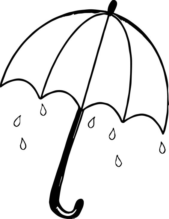 Tranh tô màu cái ô và giọt nước