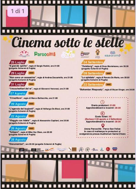 """""""Cinema sotto le Stelle"""", ritorna a Parco Città di Foggia"""