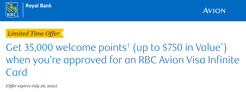 RBC Avion Visa Infinite Card - 35,000 points upon approval, no minimum spend requirement