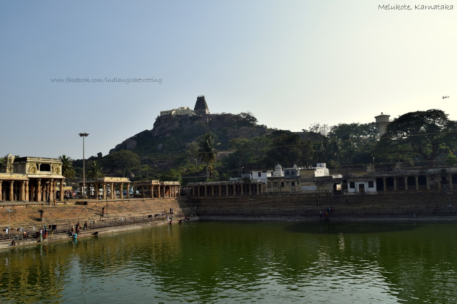Kalyani and Yoga Narasimha Temple on top of hill in melukote