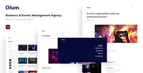 Best Business & Events Management Agency Adobe XD Template