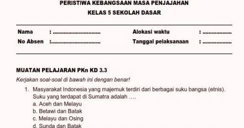 Soal Ulangan Harian K13 Kelas 5 Tema 7 Subtema 1