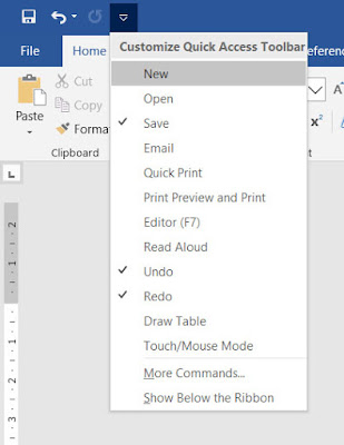لتخصيص أدوات Quick Access toolbar  وورد 2019
