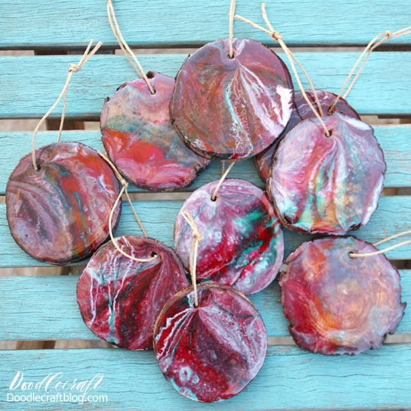 Wood slice ornaments are perfect to give as neighbor gifts or to deck the tree with matching handmade ornaments. Make stunning wood slice ornaments using high gloss resin and the dirty pour technique. Resin pouring is a highly addictive craft, let's get started!