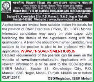 Applications are invited for CEO Post in IISER Mohali