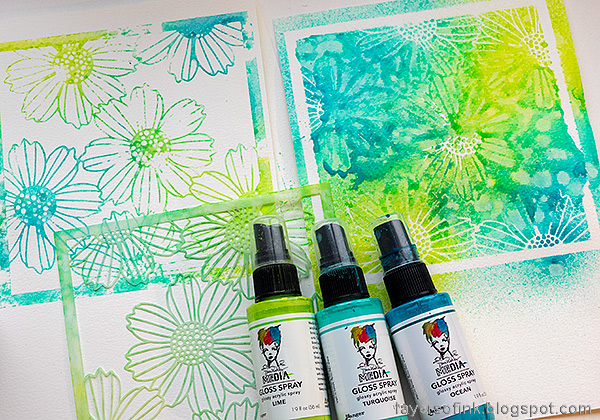 Layers of ink - Misted Flowers Art Journal Tutorial by Anna-Karin Evaldsson. Mist with acrylic spray.