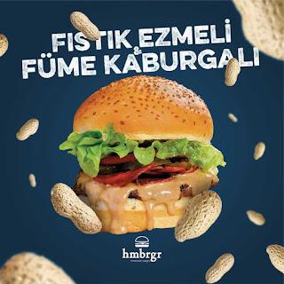 hmbrgr menü fiyat listesi kampanya fıstık ezmeli füme kaburgalı burger  siparişi