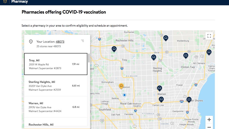 Walmart COVID-19 vaccine appointments