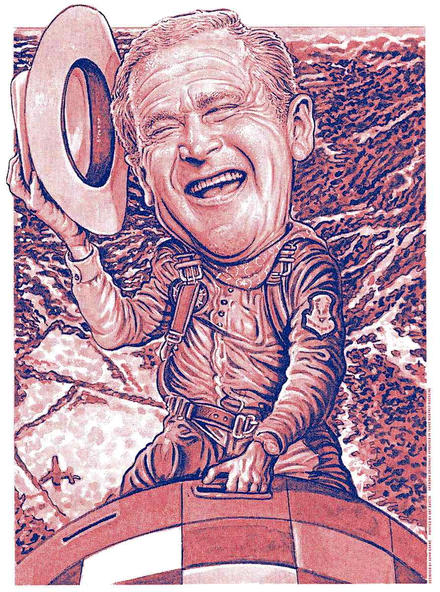a Drew Friedman caricature of President George W. Bush riding a nuclear warhead, National Lampoon Magazine was referencing the 1964 film Dr. Strangelove