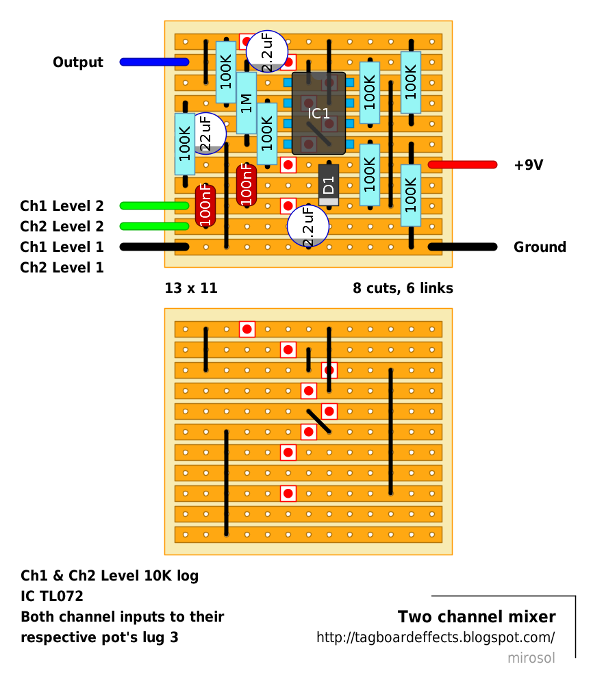 this is snipped out from ggg s 4 channel mixer schematic if anyone really needs more channels to this i could draw one with more  [ 882 x 1002 Pixel ]
