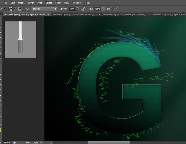 Tutorial membuat teks efek api biru dengan photoshop, tutorial wirefire.