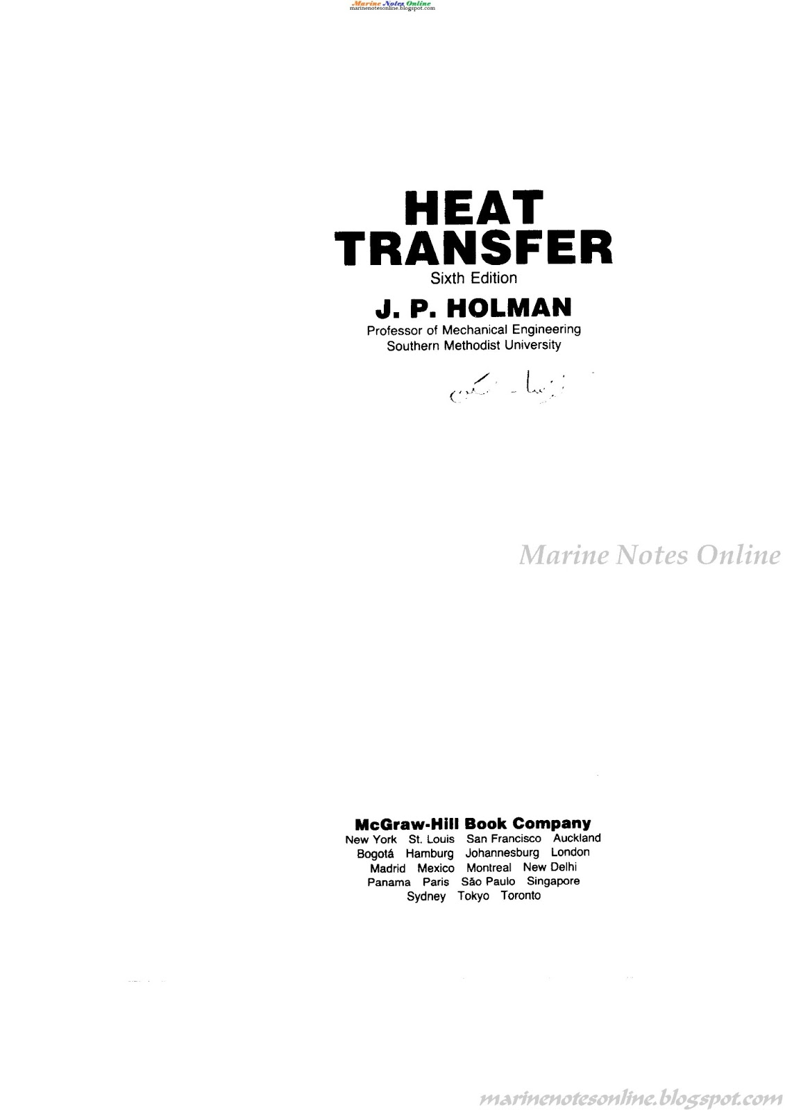 Pictures of Jp Holman Heat Transfer